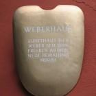 Hinweisschild am Weberhaus