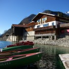 Blick vom Bootssteg auf das Cafe Seestüberl