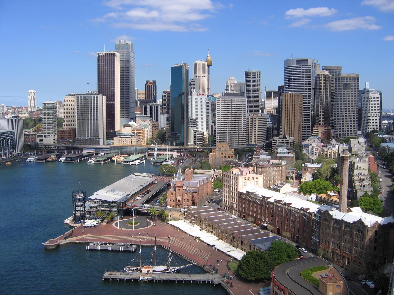 Sydney - Blick zum Circular Quay von der Harbour Bridge
