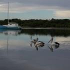 Jetty am Fluß von Augusta