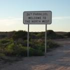 26ter Breitengrad, hier beginnt bzw endet der Nordwesten von WA