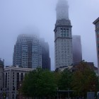 Boston Skyline im Nebel